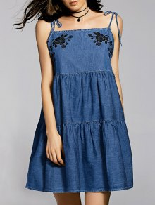 Bow Tie Shoulder Denim Slip Dress - Blue