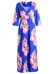 V-Neck Geometric Print Maxi Dress
