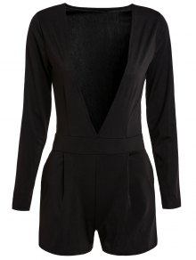 Long Sleeve Plunging Neck Black Playsuit