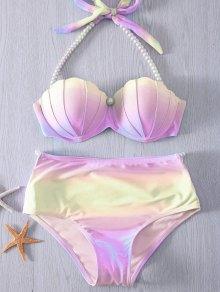 Buy Halter Neck Tie Dye Pearl Embellished Bikini Set XL PURPLE