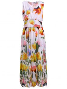 Floral V Neck Sleeveless Maxi Dress - White L