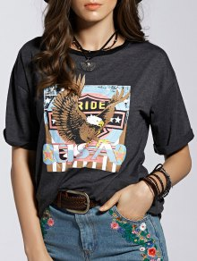 Eagle Letter Graphic Short Sleeve T-Shirt