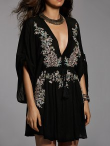 Embroidered Plunging Neck Flare Sleeve Dress - Black M
