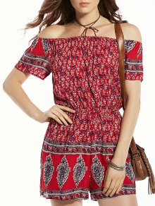 Print Off The Shoulder Short Sleeve Romper - Red M