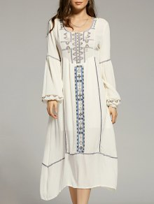 Cut Out Embroidery Scoop Neck Lantern Sleeve Dress