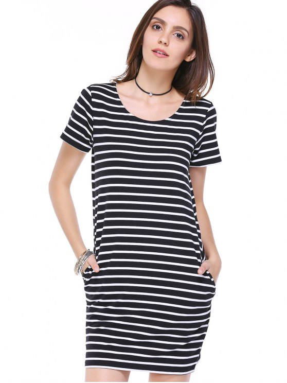 fashion Striped Scoop Neck Short Sleeve Pockets Dress - WHITE AND BLACK L