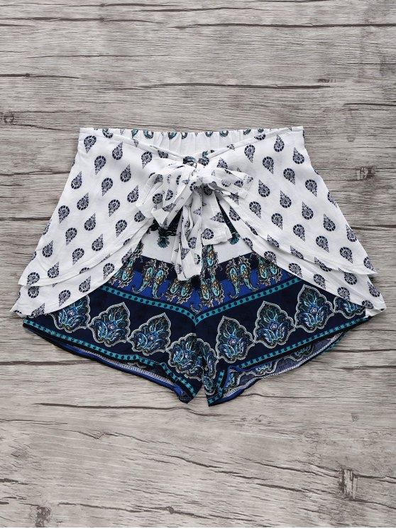 best Bohemian Print Wide Leg Shorts - BLUE XL