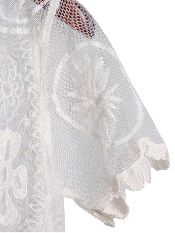 Sheer Lace Skirted Cover Up - WHITE ONE SIZE(FIT SIZE XS TO M) Mobile