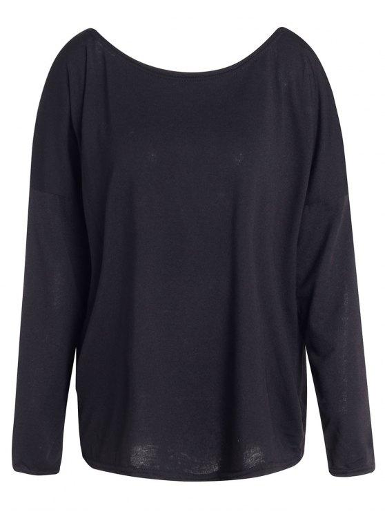 Slash Neck Long Sleeve Loose Fit T-Shirt - BLACK S Mobile