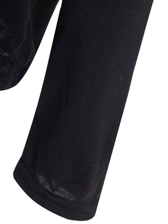 Slash Neck Long Sleeve Loose Fit T-Shirt - BLACK L Mobile
