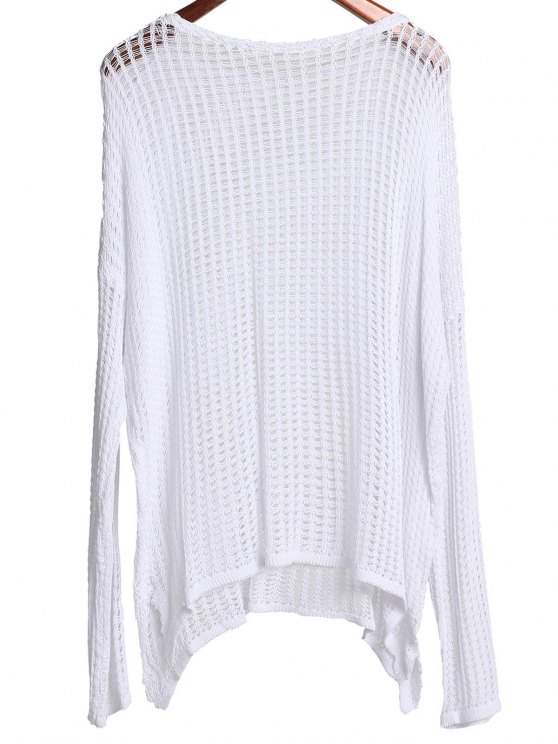 Long Sleeve Hollow Out Cover-Up - WHITE ONE SIZE(FIT SIZE XS TO M) Mobile