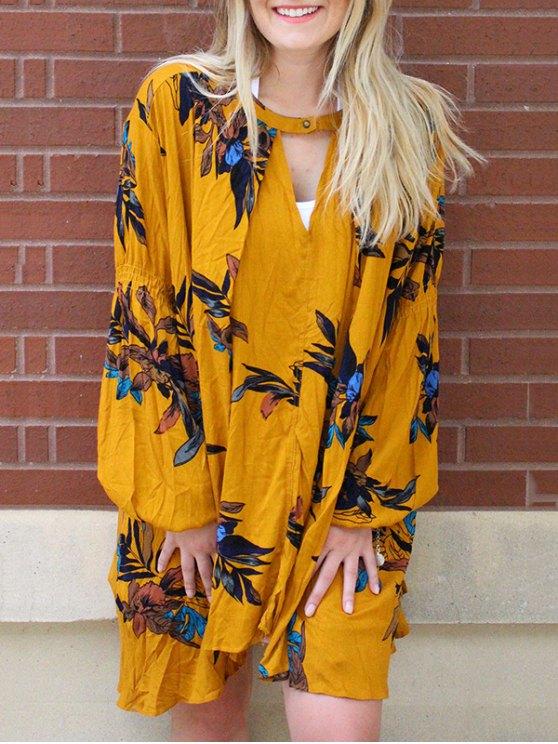 women's Keyhole Neckline Long Sleeves Dress - EARTHY S