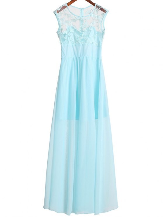 shops Lace Bodice Chiffon Dress - AZURE M