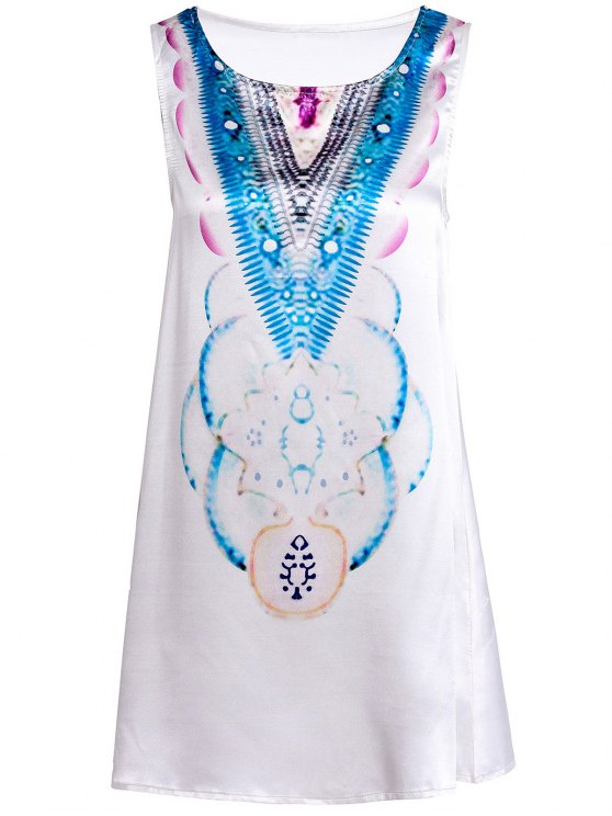 Round Neck Abstract Print Mini Dress - LIGHT BLUE M Mobile