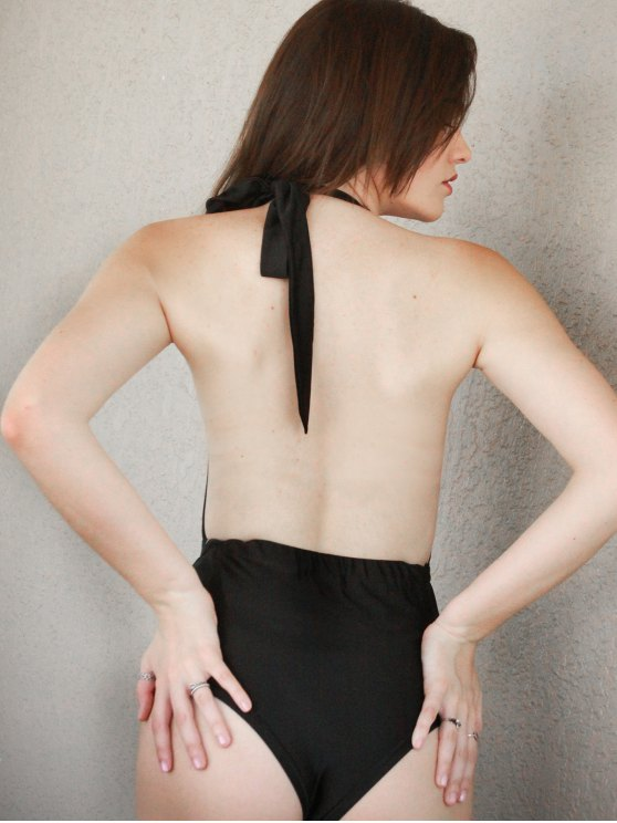 Lace Splicing Halter High Waist One-Piece Swimwear - BLACK S Mobile