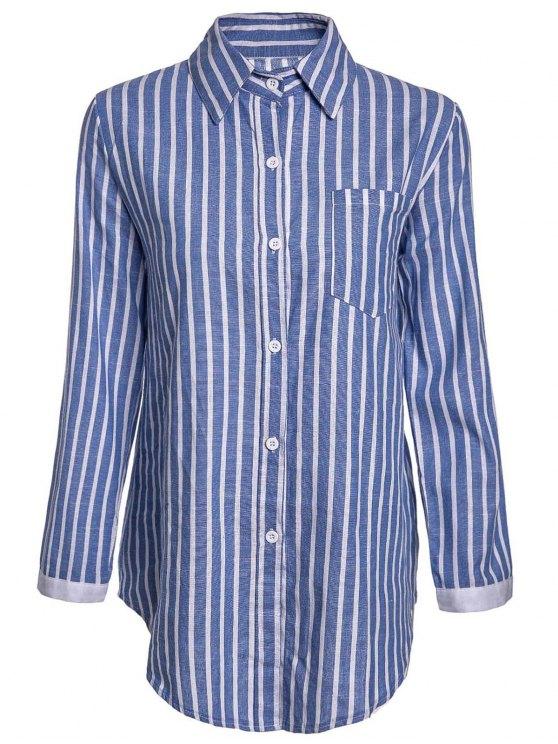 lady Striped Pocket Shirt - BLUE L