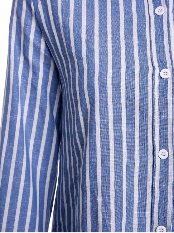 Striped Pocket Shirt - BLUE L Mobile