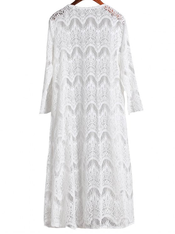 Mesh 3/4 Sleeve Long Cover Up - WHITE S Mobile