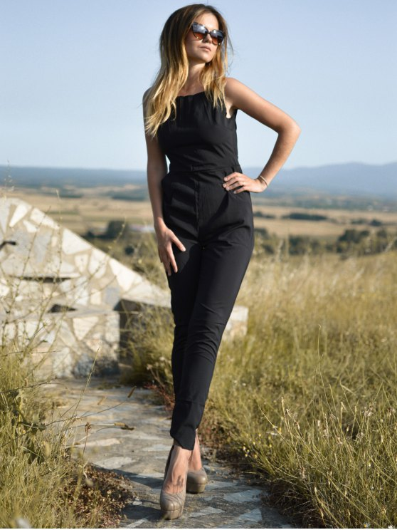 Black Jewel Neck Backless Sleeveless Jumpsuit - BLACK S Mobile