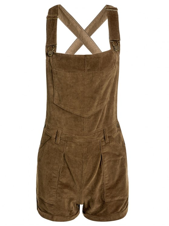 hot Solid Color Corduroy Pockets Overalls - KHAKI M