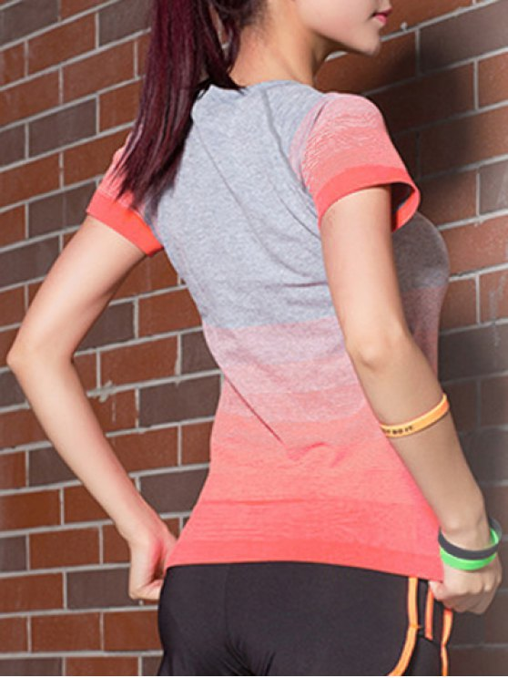Gradient Color Stretchy T-Shirt - JACINTH L Mobile