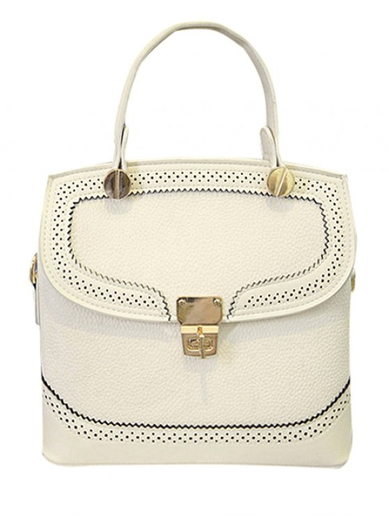 outfits Engraving Hasp Solid Color Tote Bag - OFF-WHITE