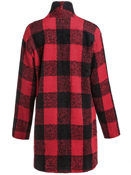 One Button Plaid Big Pocket Wool Coat - RED WITH BLACK L Mobile