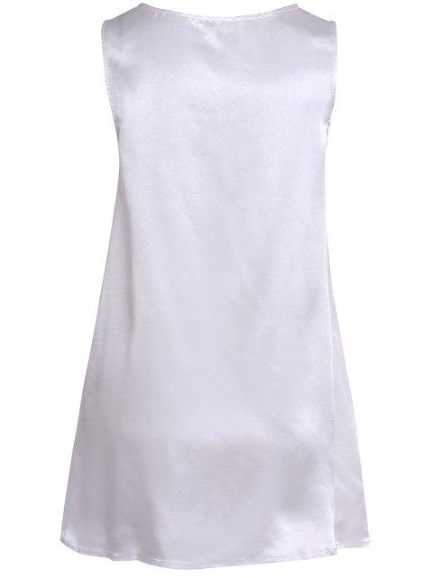 chic Round Neck Abstract Print Mini Dress - LIGHT BLUE M Mobile