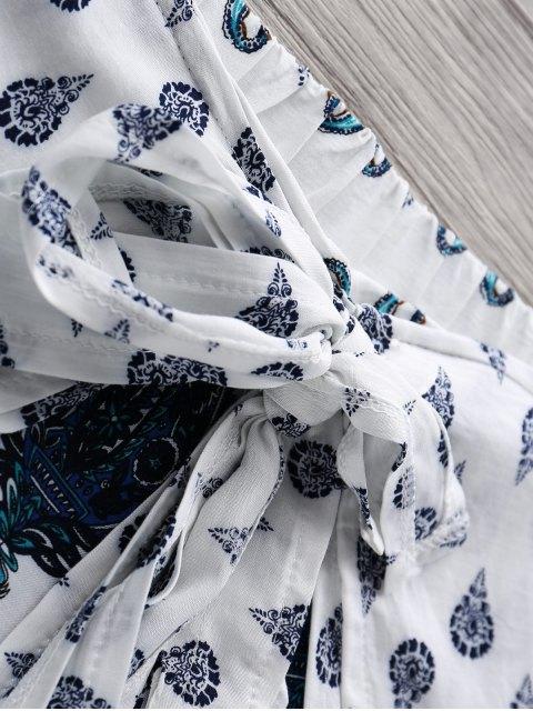best Bohemian Print Wide Leg Shorts - BLUE XL Mobile