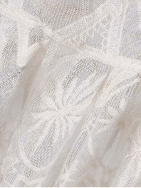 women's Sheer Lace Skirted Cover Up - WHITE ONE SIZE(FIT SIZE XS TO M) Mobile
