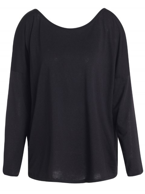 trendy Slash Neck Long Sleeve Loose Fit T-Shirt - BLACK S Mobile