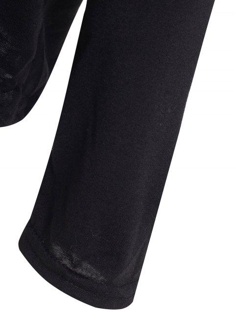 fashion Slash Neck Long Sleeve Loose Fit T-Shirt - BLACK M Mobile