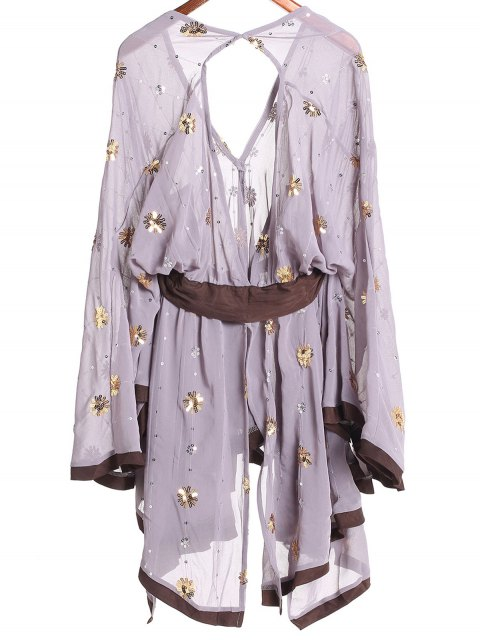 outfit Golden Silver Sequins Dress - PURPLE M Mobile