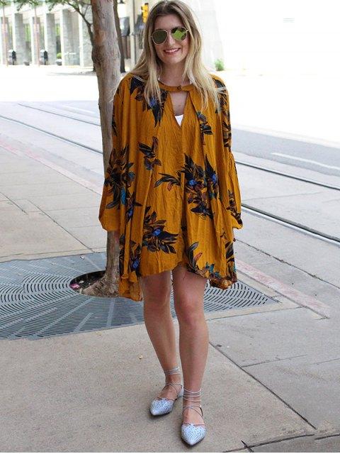 women's Keyhole Neckline Long Sleeves Dress - EARTHY S Mobile