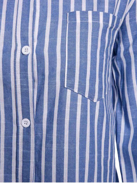 lady Striped Pocket Shirt - BLUE L Mobile