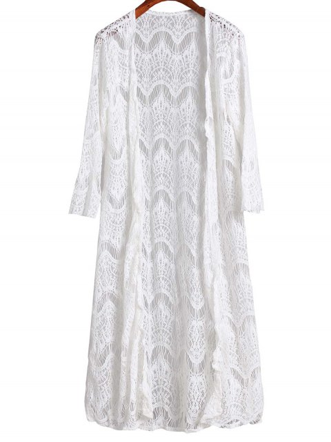 shop Mesh 3/4 Sleeve Long Cover Up - WHITE S Mobile