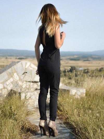 Black Jewel Neck Backless Sleeveless Jumpsuit - BLACK L Mobile