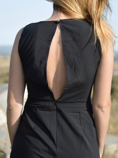 Black Jewel Neck Backless Sleeveless Jumpsuit - BLACK XL Mobile