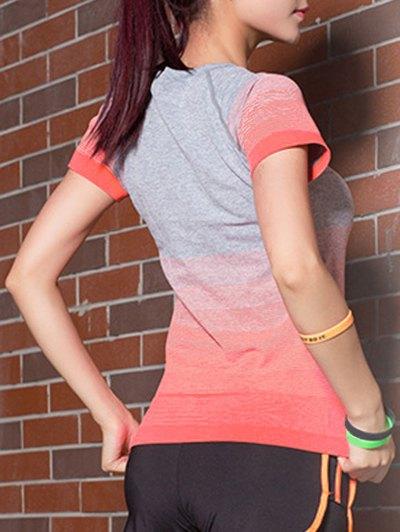 Gradient Color Stretchy T-Shirt - JACINTH L Mobile