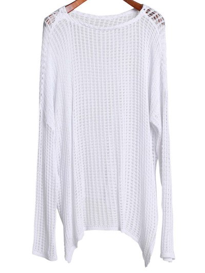 Long Sleeve Hollow Out Cover-Up - White One Size(fit Size Xs To M)