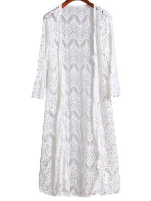 Mesh 3/4 Sleeve Long Cover Up - White