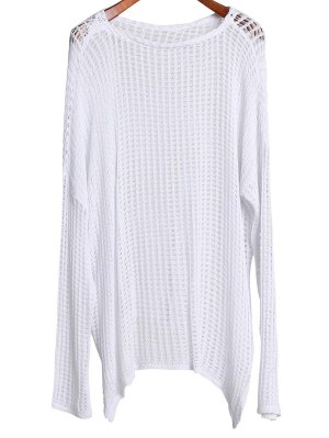 Long Sleeve Hollow Out Cover-Up - White