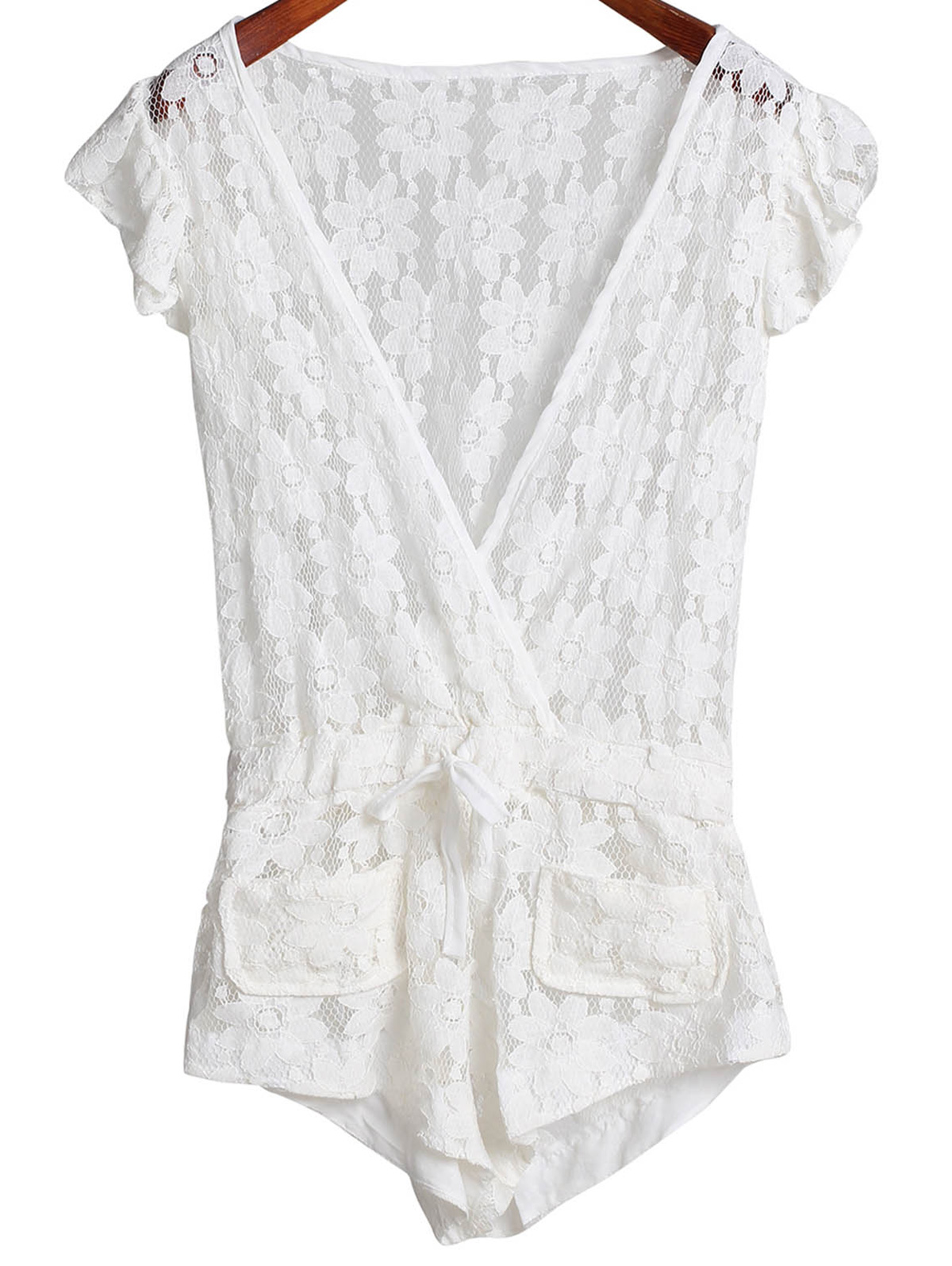 Deep V Neck Sleeveless Crochet Flower Romper Cover-Up