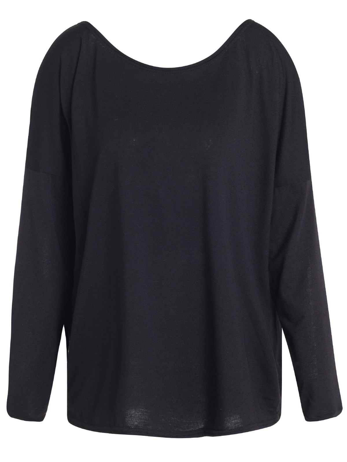 Slash Neck Long Sleeve Loose Fit T-Shirt