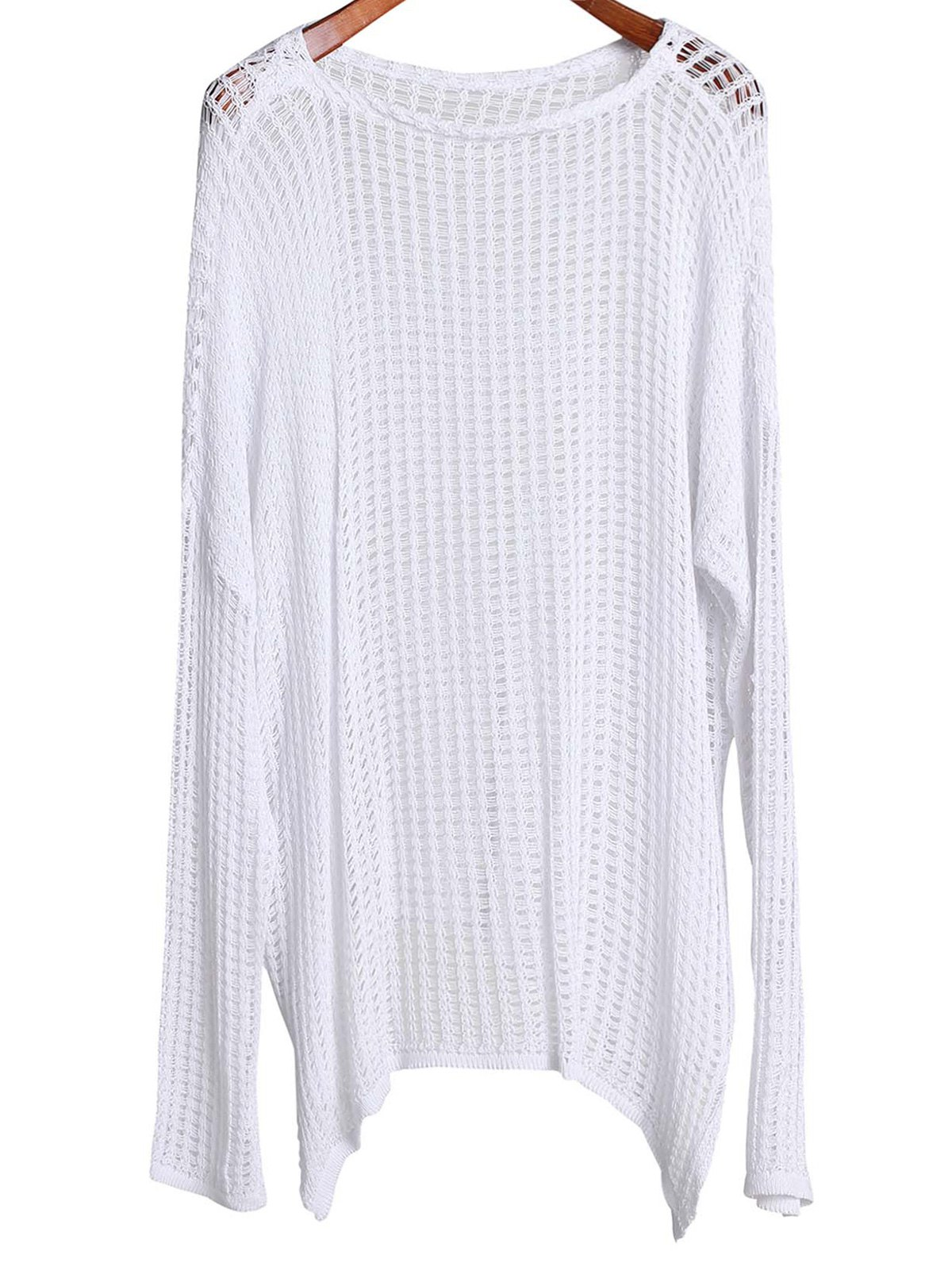 Round Neck Long Sleeve Hollow Out Cover-Up