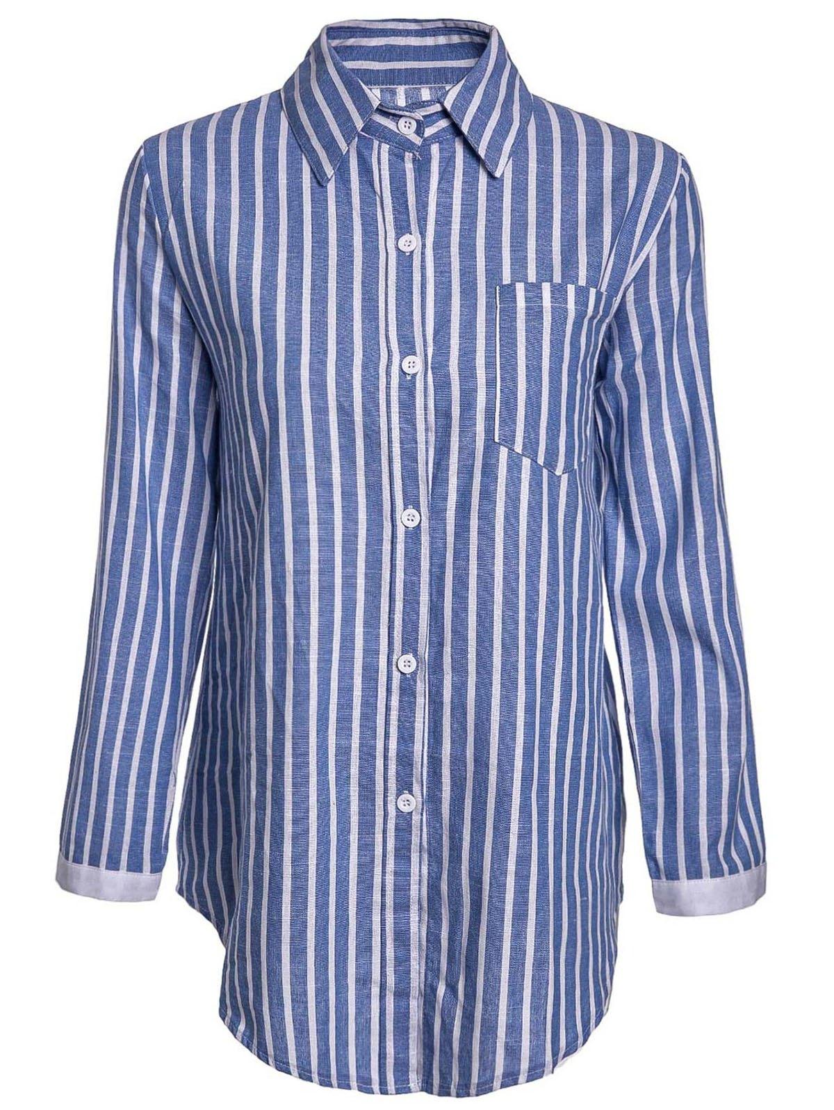 Turn Down Neck Long Sleeve Blue Stripe Shirt