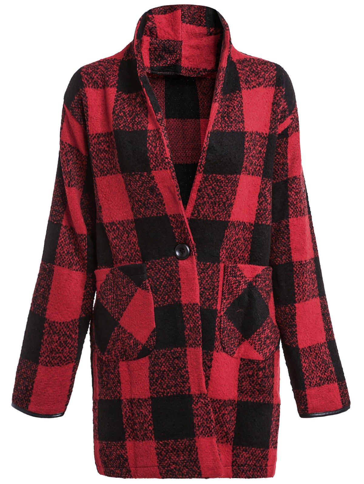 Turn-Down Collar Long Sleeve Plaid Big Pocket Wool Coat