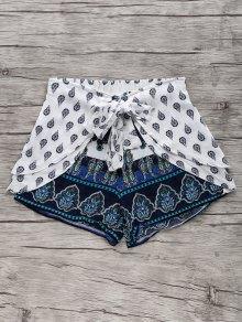 Bohemian Print Wide Leg Shorts - Blue