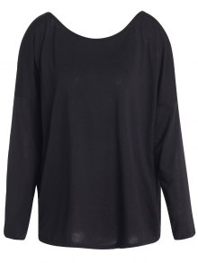 Slash Neck Long Sleeve Loose Fit T-Shirt