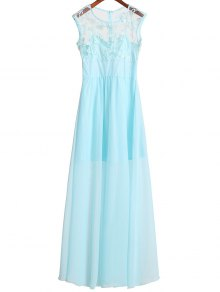 Lace Bodice Chiffon Dress - Azure S